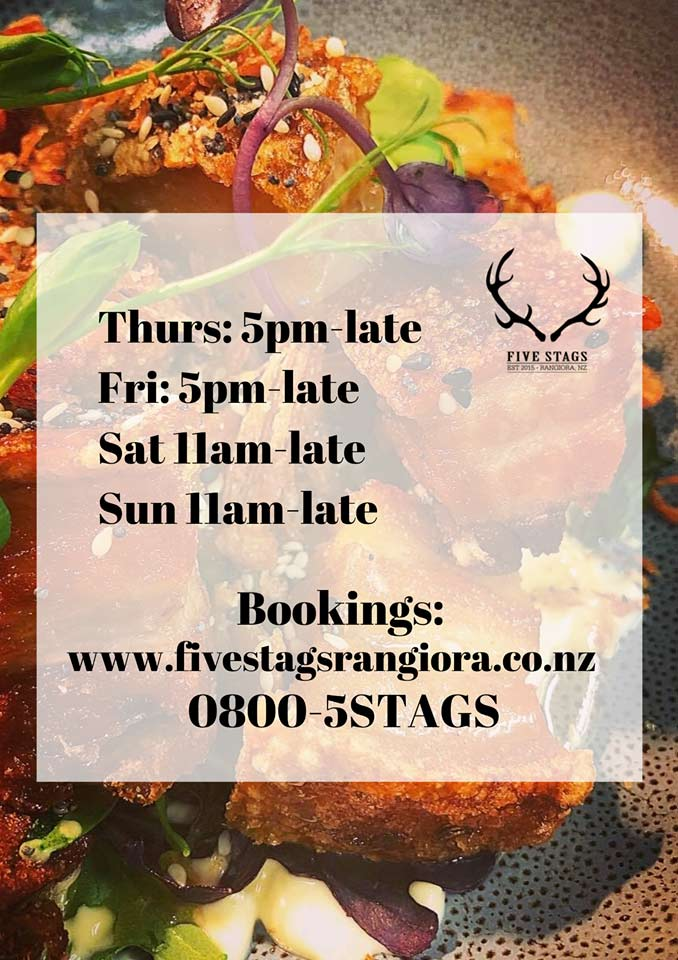 Five Stags Rangiora Opening Hours